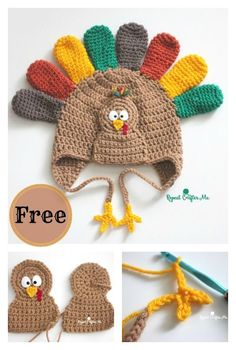 Crochet Beanie Ideas Crochet Turkey Hat Free Pattern - A turkey crochet hat will definitely put a smile on anyone's face. Here are a few Turkey Hat Free Crochet Patterns we have compiled for you to pick from. Thanksgiving Crochet, Crochet Winter, Holiday Crochet, Halloween Crochet Hats, Crochet Christmas Hats, Crochet Beanie Pattern, Crochet Baby Hats, Free Crochet, Crochet Patterns