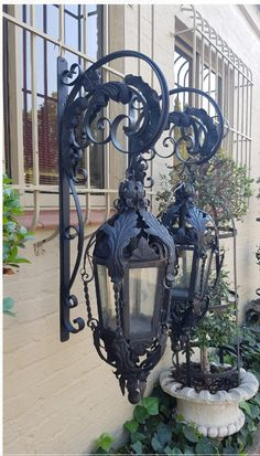 JUST ARRIVED: Exceptional Pair of Large Vintage Collectable and highly decorative Wrought Iron English Lanterns on Wall Brackets (Originally From an English Manor House) - Exterior Lighting, Outdoor Lighting, Lantern Lighting, Iron Stair Railing, English Manor Houses, Wrought Iron Decor, Lantern Post, Vintage Interior Design, Iron Art