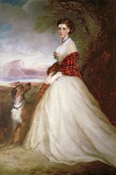Countess of Dunmore - Richard Buckner. [The low, square neckline and trained elliptical skirt indicates this is likely 1865 or later. But note the plaid shawl.]