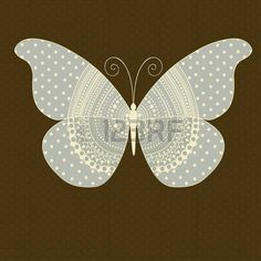silhouette: Greeting card with ornamental butterfly and place for text Illustration