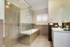 The large bathroom adds elegance to the design.