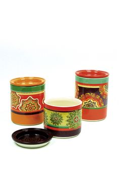 EURO CERAMICA TABLETOP Set of 3 Caftan Canisters