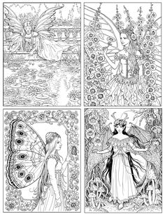 More images from THE WORLD of Fairies Coloring Book for Adults by Ruth Sanderson Blank Coloring Pages, Detailed Coloring Pages, Fairy Coloring Pages, Colouring Pics, Cool Coloring Pages, Coloring Books, Coloring Sheets, Colorful Drawings, Illustration