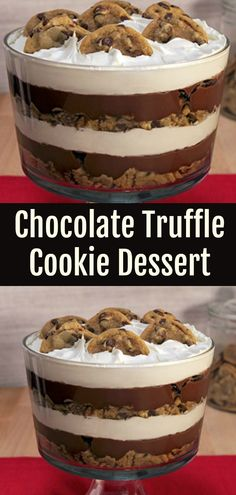 Chocolate Cookie Trifle Dessert. Layers of chocolate chip cookies, dark chocolate pudding, nuts and whipped topping - what's not to love about this decadent chocolate chip cookie trifle? #chocolate #cookie #dessert #recipe