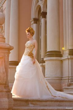 jillian sposa bridal 2015 strapless sweetheart ball gown wedding dress gold lace bodice