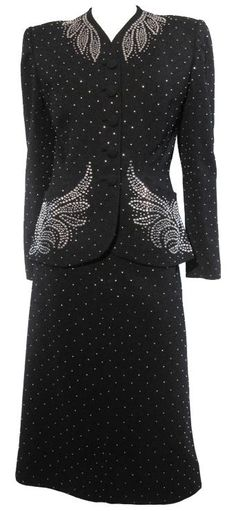 Suit - 1940s. Too neat! Imagine with platinum curl bouffant and red lips!!
