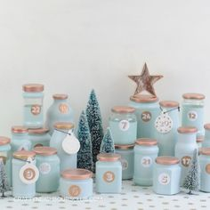Upcycling advent calendar from empty glasses. Your individual advent calendar in your favorite color Clay Christmas Decorations, Christmas Crafts, Xmas, Advent Calenders, Diy Advent Calendar, Calendrier Diy, Printable Calendar Template, Christmas Inspiration, Diy Inspiration
