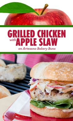 Sara Lee Bread Grilled Chicken with Apple Slaw Recipe. Artesano Buns paired with grilled chicken and apple slaw is one of our all-time favorites! Healthy Snacks, Healthy Eating, Healthy Recipes, Healthy Appetizers, Great Recipes, Dinner Recipes, Favorite Recipes, Slaw Recipes, Chicken Recipes