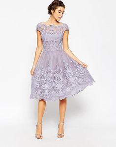 Chi Chi London   Chi Chi London Premium Lace Midi Prom Dress with Bardot Neck at ASOS