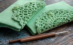 Linen Crochet Hook Case  Holder  Organizer by namolio on Etsy (Craft Supplies & Tools, Fiber & Textile Art Supplies, Knitting & Crocheting, Organizers & Storage, crochet, hook case, holder, organizer, linen, doily, needles, crocheted, mint, green, light green)