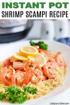 Instant pot shrimp scampi recipe comes together in only 2 minutes thanks to the pressure cooker! Enjoy delicious shrimp scampi in hardly any time at all! Chicken Broth Recipes, Seafood Recipes, Pasta Recipes, Dinner Recipes, Crock Pot Shrimp, Shrimp Scampi Pasta, Potted Shrimp, Scampi Recipe, Spaghetti Squash Recipes