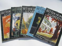 30s vintage Better Homes and Gardens magazines, retro ads and illustrations