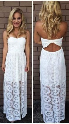 Strapless ladies white lace dress fashion inspiration for summer 2014