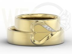 Złote obrączki ślubne z diamentami/ Wedding rings made from gold with a diamonds/ 2 930 PLN #jewellery #weddingrings #gold #diamonds