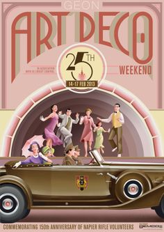 Art Deco Weekend Poster to promote the 2013 Art Deco Weekend festivities the be held in Napier New Zealand in February Miami Art Deco, Art Deco Artwork, Art Deco Posters, Art Deco Illustration, Chrysler Building, Retro Art, Vintage Art, Art Nouveau, Art Deco Car