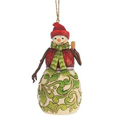 Enesco Jim Shore Red and Green Snowman Ornament