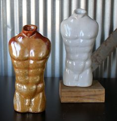 Torso - Jon Loer 2013 - slip cast with carbon trap shino and white shino reduction glaze