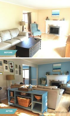 Living Room Before & After Rearranging - Decorating With Less