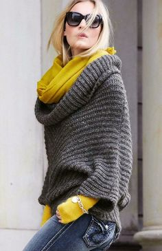Fashionista: Casual Sweaters and Jeans - lovee the gray Pull Poncho, Poncho Sweater, Grey Sweater, Grey Poncho, Slouchy Sweater, Yellow Sweater, Yellow Jeans, Knit Shrug, Comfy Sweater