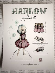 Harlow paper doll - Full Color signed paper art doll - by Mab Graves. $6.00, via Etsy.