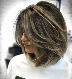 70 Brightest Medium Layered Haircuts to Light You Up Ash Brown Balayage Lob With Layers Balayage Lob, Brown Balayage, Balayage Asian Hair, Bronde Bob, Short Balayage, Balayage Straight, Ombre Brown, Brown Blonde, Layered Haircuts For Women