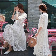 흰색 레이스 자수 드레스 여성 여름 새로운 도착 중공 라운드 넥 느슨한 큰 스윙 드레스의 2017 새로운 긴 섹션