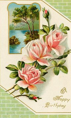 birthday card - spray of roses - vintage reference
