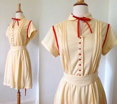 60s / 70s Vintage Cream and Red German Dress with by SultryVintage