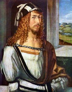 """Albrecht Dürer """"Selbstbildnis mit Landschaft"""" (mit 26 Jahren), 1498 (Self-portrait with landscape - 26 years of age)"""