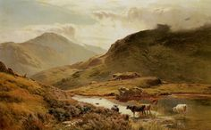 Sidney Richard Percy (1821-1886) Cattle in a Highland Landscape