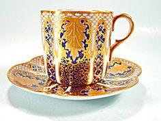 Doulton Burslem Cup and Saucer Lavish Gold Cobalt