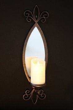 Metal Mirror Candle Sconce - by Laguna Furnishings - Accessories, Gifts & More in Westlake Village CA - http://www.lagunafurnishings.com/catalog/accessories