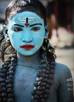 blue faced Shiva worshipper