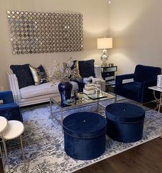 What's your favorite pop of color you've used in your home? A color you can't live without? Would love to read below as we prepare to… Blue And Gold Living Room, Blue Living Room Decor, Navy Blue Living Room, Glam Living Room, Living Room Color Schemes, Living Room Sofa, Living Room Designs, Blue Living Room Furniture, Blue Furniture