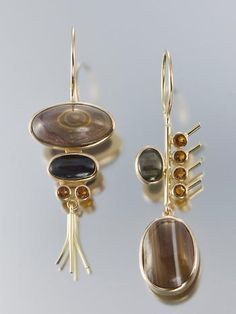Earrings | Janis Kerman.  18k gold, agate, black star moonstone, citrine