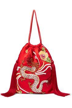Attico   Tasseled embellished satin pouch   NET-A-PORTER.COM
