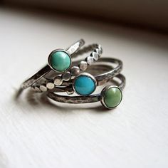 Trio of Rustic Turquoise Stacking Rings in Antiqued Sterling Silver