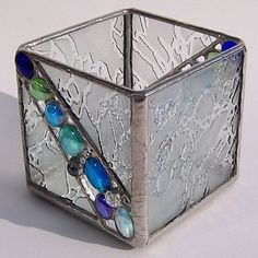 Frosted Ice Stained Glass Candle Holder #StainedGlassILove!❤