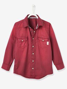 Camisa denim niño rojo efecto lavado - Vertbaudet