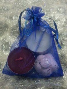 vanilla, strawberry and pomegranate tealights. and flower bath bomb