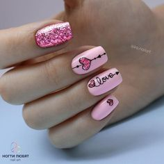 Pink Glitter Herz Nail Art, How to utilize nail polish? Nail polish on your own friend's nails looks perfect, but you can't Nails Now, Love Nails, My Nails, Glam Nails, Hair And Nails, Heart Nail Designs, Valentine's Day Nail Designs, Nails Design, Bright Nail Designs