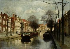 Johannes Christiaan Karel Klinkenberg (Den Haag A Dutch canal - Dutch Art Gallery Simonis and Buunk Ede, Netherlands. City Painting, Medieval Life, Dutch Painters, City Landscape, Dutch Artists, Utrecht, 15th Century, Delft, Beautiful Paintings