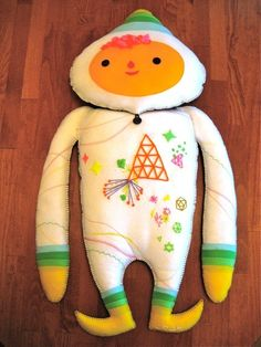 Cute sewn, embroidered doll