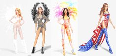 Sketches that were released by VS, revealing the magical designs thats will be set to hit centre stage for this years Victoria's Secret Fashion Show.Narratives for this years show- Boho Psychedelic- Exotic Butterflies- Portrait of an Angel- PINK USA- Ice Angels- Firework