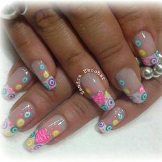 Colores French Tip Nails, Spring Nails, Toe Nails, Hair Beauty, Nail Art, Finger Nails, Nail Art Tutorials, Gold Nails, Polish Nails
