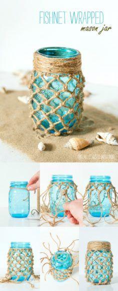 Fishnet Wrapped Mason Jar