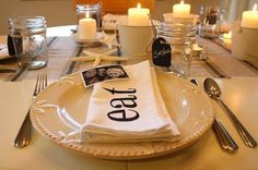 """Love this idea for Napkins! You could even Stencil the word """"EAT"""" in different languages for each setting :)"""