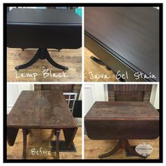 Table made new again with General Finishes Java Gel stain, Lamp Black milk paint and Arm-R-Seal satin