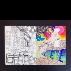 Left Brain/right brain art project done by my 8th grade students. Inspired by the Mercedes Benz advertisements.
