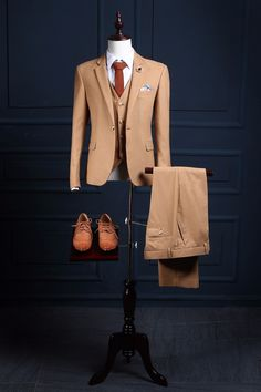Latest Coat Pant Designs Khaki Formal Wedding Suits For Men Bridegroom Custom Made Slim Fit Outfit 3 Pieces Jacket 328